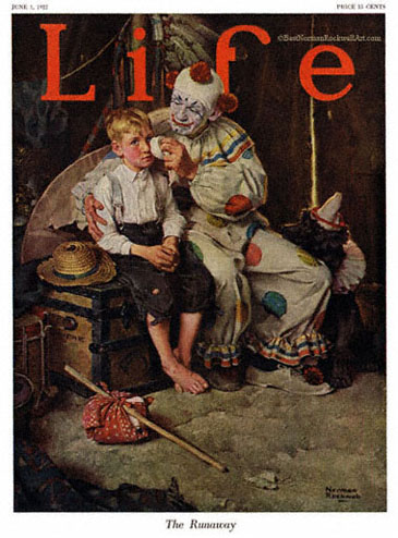 The Runaway by Norman Rockwell appeared on Life Magazine cover June 1, 1922