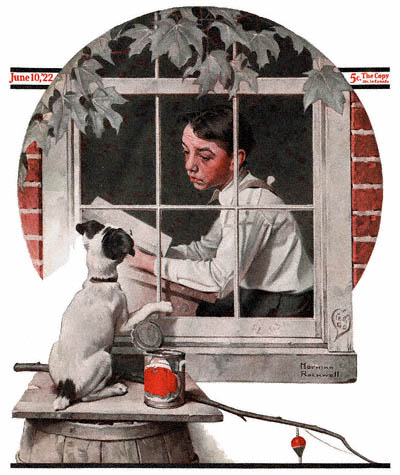 The June 10, 1922 Saturday Evening Post cover by Norman Rockwell entitled Schoolboy Gazing Out the Window
