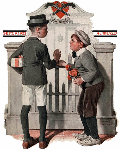 The September 9, 1922 Saturday Evening Post cover by Norman Rockwell entitled Rivals