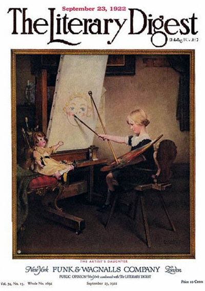 The Artist's Daughter or Little Girl with Palette at Easel by Norman Rockwell from the February 25, 1922 issue of The Literary Digest