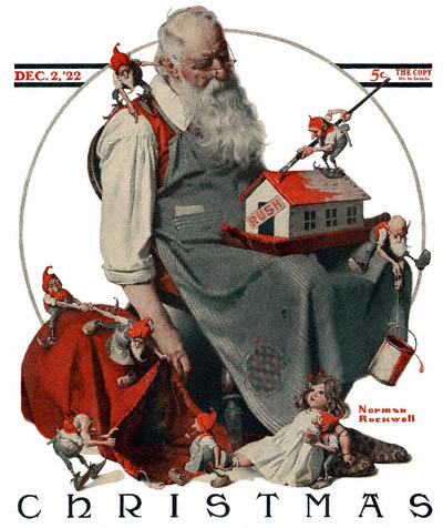 Norman Rockwell Santa with Elves