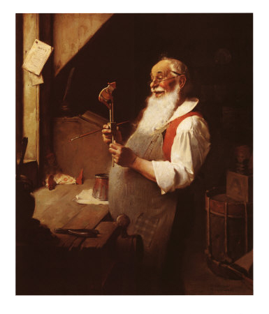 Norman Rockwell's Santa Claus painting Santa's Workshop first published in the Clintonville Gazette December 14, 1922