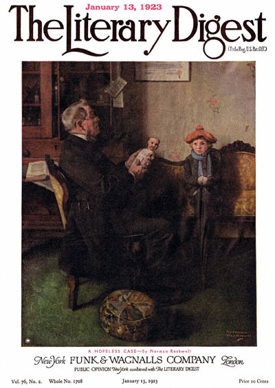 A Hopeless Case or Doctor Examining Doll, Girl on Couch by Norman Rockwell from the January 13, 1923 issue of The Literary Digest