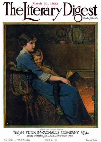 Bedtime or Mother Reading to Child by Fire by Norman Rockwell from the March 31, 1923 issue of The Literary Digest