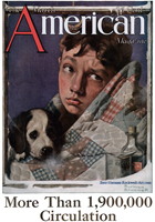 Norman Rockwell's Boy and Dog in Quilt from the March 1923 American cover