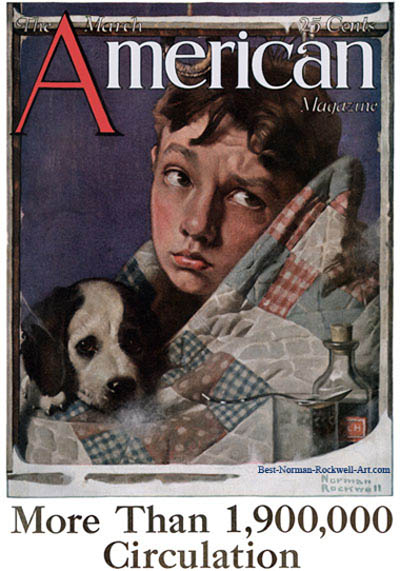 Boy and Dog in Quilt by Norman Rockwell appeared on American Magazine cover March 1923