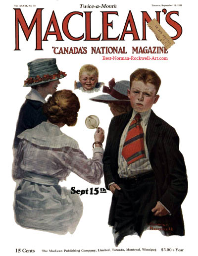The New Baby by Norman Rockwell appeared on American Magazine cover September 15, 1923
