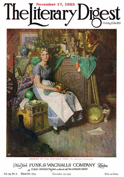 Dreams in the Antique Shop or Woman Daydreaming in Attic by Norman Rockwell from the November 17, 1923 issue of The Literary Digest
