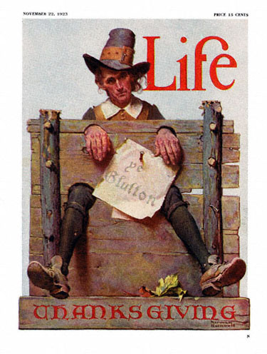 For Thanksgiving, Ye Glutton by Norman Rockwell appeared on Life Magazine cover November 22, 1923