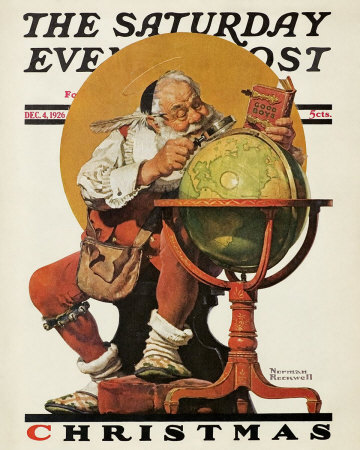 Norman Rockwell Santa at the Globe