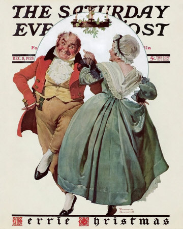 Norman Rockwell Colonial Couple Dancing Under Mistletoe