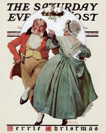 Norman Rockwell Colonial Couple Dancing Under Mistletoe