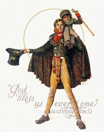 Norman Rockwell Tiny Tim and Bob Cratchit