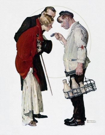 The March 9, 1935 Saturday Evening Post cover by Norman Rockwell entitled Couple With Milkman