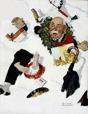Norman Rockwell: Christmas: Gramps in Snow