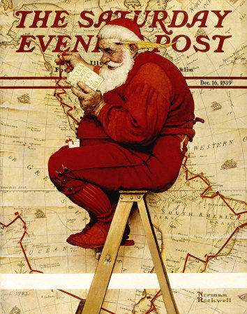 Norman Rockwell Santa on Ladder With Map