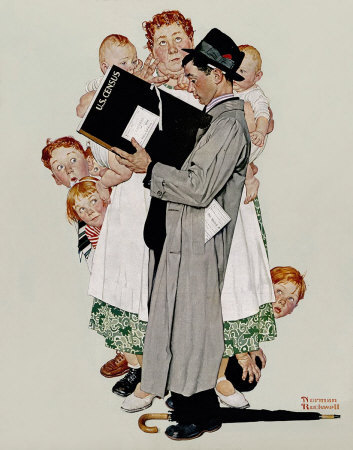 The April 27, 1940 Saturday Evening Post cover by Norman Rockwell entitled The Census Taker