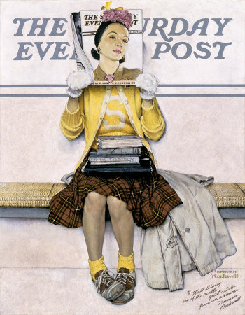 The March 1, 1941 Saturday Evening Post cover by Norman Rockwell entitled Girl Reading The Post