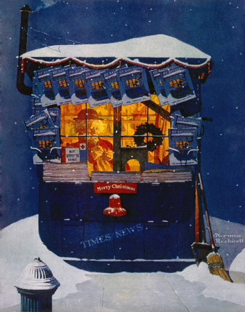 Norman Rockwell: News Kiosk in the Snow