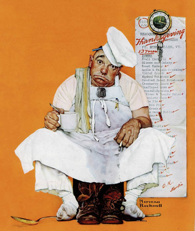Norman Rockwell: Chef With Thanksgiving Menu
