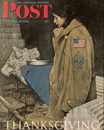 Norman Rockwell: Thanksgiving: Girl Praying