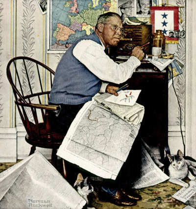 The April 29, 1944 Saturday Evening Post cover by Norman Rockwell entitled Man Charting War Maneuvers
