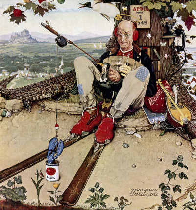 The March 31, 1945 Saturday Evening Post cover by Norman Rockwell entitled April Fool: Fishing
