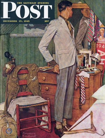 The December 15, 1945 Saturday Evening Post cover by Norman Rockwell entitled Back To Civies