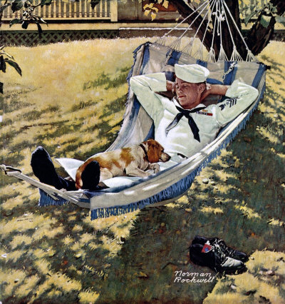 The September 15, 1945 Saturday Evening Post cover by Norman Rockwell entitled Home On Leave