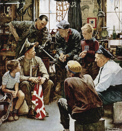The October 13, 1945 Saturday Evening Post cover by Norman Rockwell entitled Homecoming Marine