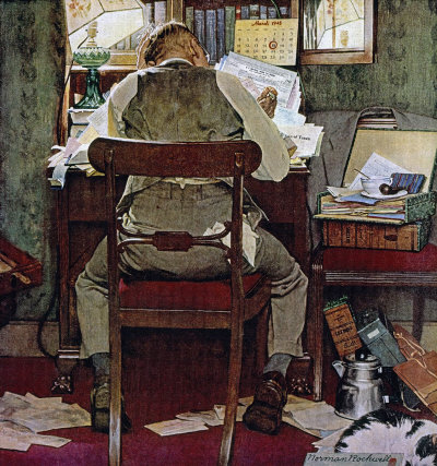 The March 17, 1945 Saturday Evening Post cover by Norman Rockwell entitled Income Tax