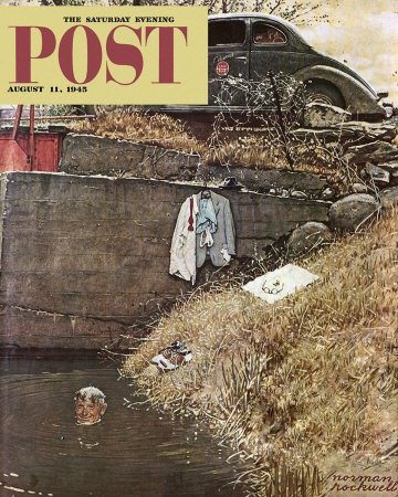 The August 11, 1945 Saturday Evening Post cover by Norman Rockwell entitled Salesman In Swimming Hole
