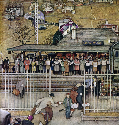 The November 16, 1946 Saturday Evening Post cover by Norman Rockwell entitled Crestwood Commuter Station