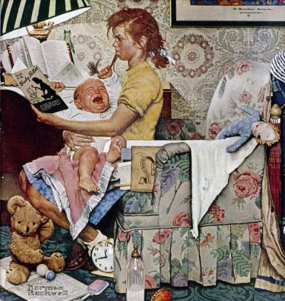 The November 8, 1947 Saturday Evening Post cover by Norman Rockwell entitled Babysitter With Screaming Infant