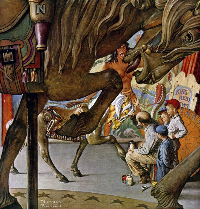 The May 3, 1947 Saturday Evening Post cover by Norman Rockwell entitled Merry-Go-Round