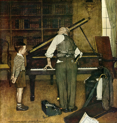 The January 11, 1947 Saturday Evening Post cover by Norman Rockwell entitled Piano Tuner