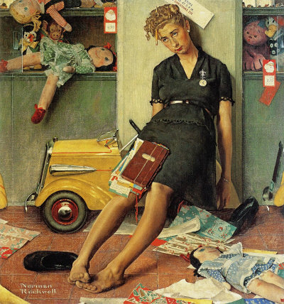 tired salesgirl on christmas eve 1947 norman rockwell saturday evening post cover. Black Bedroom Furniture Sets. Home Design Ideas