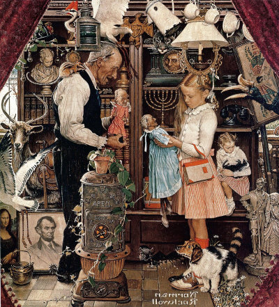 The April 3, 1948 Saturday Evening Post cover by Norman Rockwell entitled April Fool: Girl with Shopkeeper