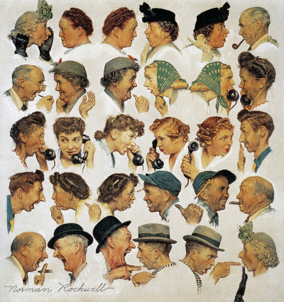 The March 6, 1948 Saturday Evening Post cover by Norman Rockwell entitled The Gossips