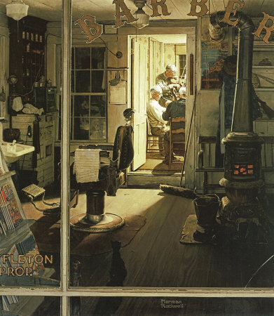 The April 29, 1950 Saturday Evening Post cover by Norman Rockwell entitled Shuffleton's Barbershop