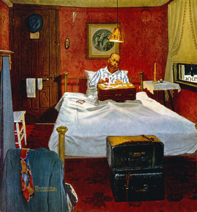 The August 19, 1950 Saturday Evening Post cover by Norman Rockwell entitled Solitaire