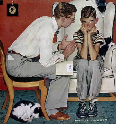 The July 14, 1952 Saturday Evening Post cover by Norman Rockwell entitled Facts of Life