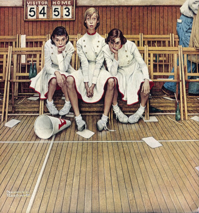 The February 16, 1952 Saturday Evening Post cover by Norman Rockwell entitled Cheerleaders