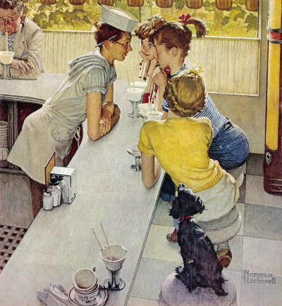 The August 22, 1953 Saturday Evening Post cover by Norman Rockwell entitled Soda Jerk