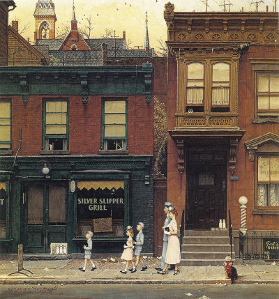 The April 4, 1953 Saturday Evening Post cover by Norman Rockwell entitled Walking to Church