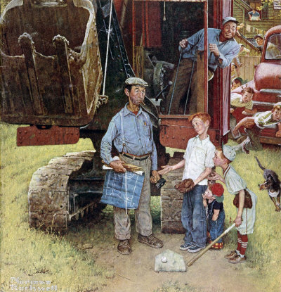 The August 21, 1954 Saturday Evening Post cover by Norman Rockwell entitled Construction Crew