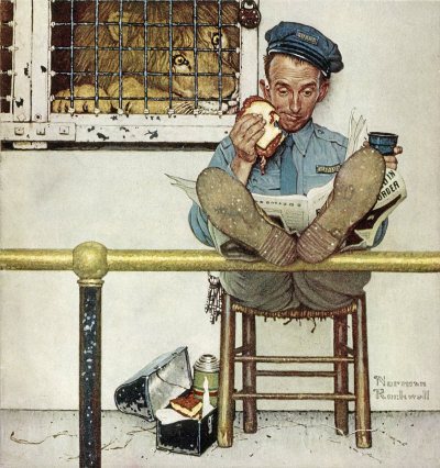 The January 9, 1954 Saturday Evening Post cover by Norman Rockwell entitled Lion and Zookeeper