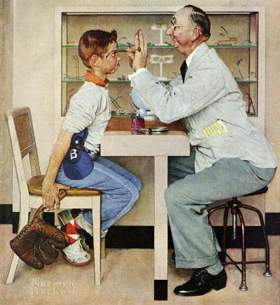 The May 19, 1956 Saturday Evening Post cover by Norman Rockwell entitled The Optician