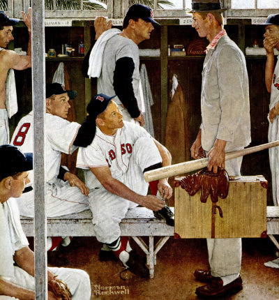The March 2, 1957 Saturday Evening Post cover by Norman Rockwell entitled Red Sox Locker Room