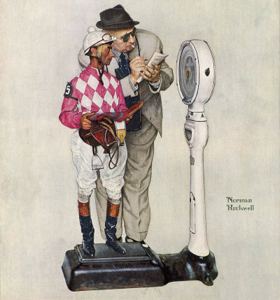 The June 28, 1958 Saturday Evening Post cover by Norman Rockwell entitled Weighing In